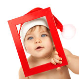 Baby boy wearing Santa Claus hat Stock Photography