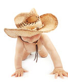 Baby boy wearing stetson hat. Sweet baby boy wearing big stetson hat and crawl in the studio on white background, happy childhood Stock Photography