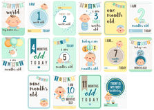 Baby Boy Weeks and Months Card Royalty Free Stock Photo