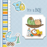 Baby boy weighed on the scale Royalty Free Stock Photo