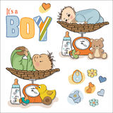 Baby boy weighed on the scale, items set. On white background Royalty Free Stock Photos