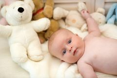 Baby boy and white teddy bear. Childhood and curiosity concept. stock photos