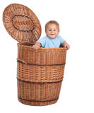 Baby boy in wicker box Royalty Free Stock Photography