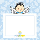 Baby boy with wings. Blank space for photo or text Royalty Free Stock Images