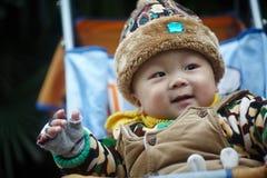 Baby boy  in winter Stock Photos