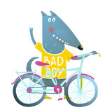 Baby Boy Wolf or Dog Character Greeting with Bicycle cute sport cartoon for kids Royalty Free Stock Images