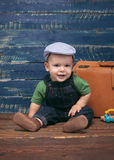 Baby boy on wooden background Royalty Free Stock Photo
