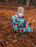 Baby boy in the woods Stock Image