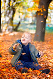 Baby boy in the woods Royalty Free Stock Photography