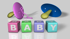 Baby and boy words and a pacifier Royalty Free Stock Photos