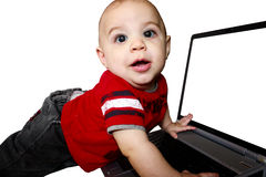 Baby Boy working on laptop. Stock Photography