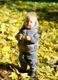 Baby boy with yellow autumn maple leaf. Portrait of toddler child in warm vest jacket outdoors. One year old baby boy with yellow maple leaf in autumn park Royalty Free Stock Image