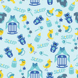 Baby boyl cute seamless pattern. Sleep newborn ite Stock Photos