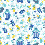 Baby boyl cute seamless pattern. Sleep newborn ite Royalty Free Stock Photography