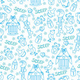Baby boyl cute seamless pattern. Sleep newborn ite Stock Image