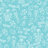 Baby boyl cute seamless pattern. Sleep newborn ite Stock Images