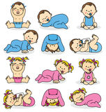 Baby boys and baby girls Stock Image