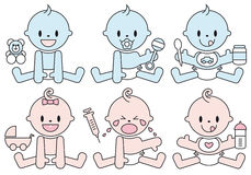 Baby boys and girls vector illustration