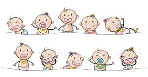 Baby boys and girls with facial expressions Royalty Free Stock Photography