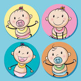 Baby boys and girls on round badge Stock Images