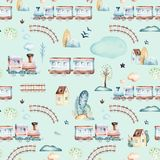 Baby boys world. Cartoon airplane, plane and waggon locomotive watercolor illustration pattern. Child toys birthday. Baby boys world. Cartoon airplane, plane and Royalty Free Stock Images