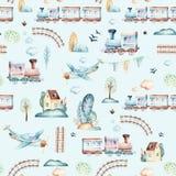 Baby boys world. Cartoon airplane, plane and waggon locomotive watercolor illustration pattern. Child toys birthday Royalty Free Stock Photography