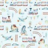 Baby boys world. Cartoon airplane, plane and waggon locomotive watercolor illustration pattern. Child toys birthday Stock Image