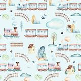 Baby boys world. Cartoon airplane, plane and waggon locomotive watercolor illustration pattern. Child toys birthday. Baby boys world. Cartoon airplane, plane and Stock Photography