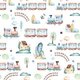 Baby boys world. Cartoon airplane, plane and waggon locomotive watercolor illustration pattern. Child toys birthday. Baby boys world. Cartoon airplane, plane and stock illustration