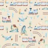 Baby boys world. Cartoon airplane, plane and waggon locomotive watercolor illustration pattern. Child toys birthday Stock Photo