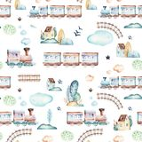 Baby boys world. Cartoon airplane, plane and waggon locomotive watercolor illustration pattern. Child toys birthday. Baby boys world. Cartoon airplane, plane and Royalty Free Stock Photos