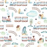 Baby boys world. Cartoon airplane, plane and waggon locomotive watercolor illustration pattern. Child toys birthday. Baby boys world. Cartoon airplane, plane and vector illustration