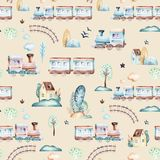 Baby boys world. Cartoon airplane, plane and waggon locomotive watercolor illustration pattern. Child toys birthday. Baby boys world. Cartoon airplane, plane and Royalty Free Stock Photo