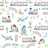Baby boys world. Cartoon airplane, plane and waggon locomotive watercolor illustration pattern. Child toys birthday vector illustration