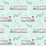 Baby boys world. Cartoon airplane, plane and waggon locomotive watercolor illustration pattern. Child toys birthday. Baby boys world. Cartoon airplane, plane and royalty free illustration