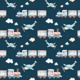 Baby boys world. Cartoon airplane, plane and waggon locomotive watercolor illustration pattern. Child toys birthday Stock Photography