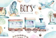Baby boys world. Cartoon airplane and waggon locomotive watercolor illustration. Child birthday set of plane, and air. Baby boys world. Cartoon airplane and royalty free illustration