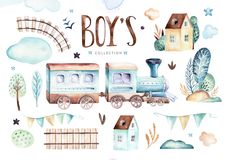 Baby boys world. Cartoon airplane and waggon locomotive watercolor illustration. Child birthday set of plane, and air royalty free illustration