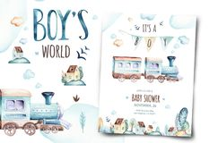 Baby boys world. Cartoon airplane and waggon locomotive watercolor illustration. Child birthday set of plane, and air. Baby boys world. Cartoon airplane and vector illustration