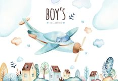 Baby boys world. Cartoon airplane and waggon locomotive watercolor illustration. Child birthday set of plane, and air stock illustration