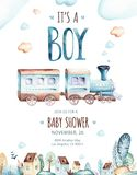 Baby boys world. Cartoon airplane and waggon locomotive watercolor illustration. Child birthday set of plane, and air. Baby boys world. Cartoon airplane and stock illustration