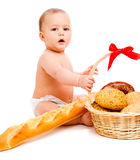 Baby and bread Stock Photography