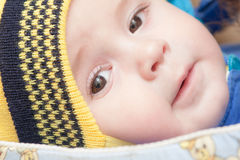 Baby with brown eyes Royalty Free Stock Images