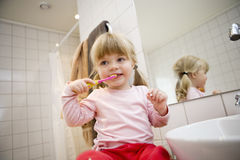 Baby Brushing teeth Royalty Free Stock Image