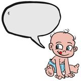 Baby bubble. Baby with speech bubble cartoon illustration isolated on white Stock Images