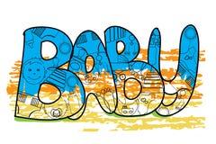 Baby-Buchstaben mit Babyelementen Babyschablone, Logo, Hintergrund lizenzfreie abbildung