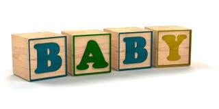 Baby buchstabiert heraus in den Kinderfarbblöcken Stockfotografie