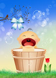Baby in the bucket Stock Photo