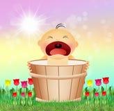 Baby in the bucket Stock Photos
