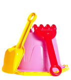 Baby bucket, spade and rake Royalty Free Stock Photos